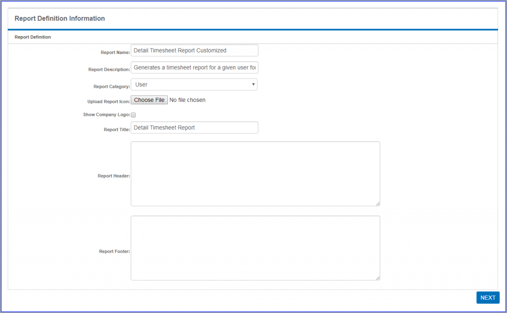 Customize Timesheet
