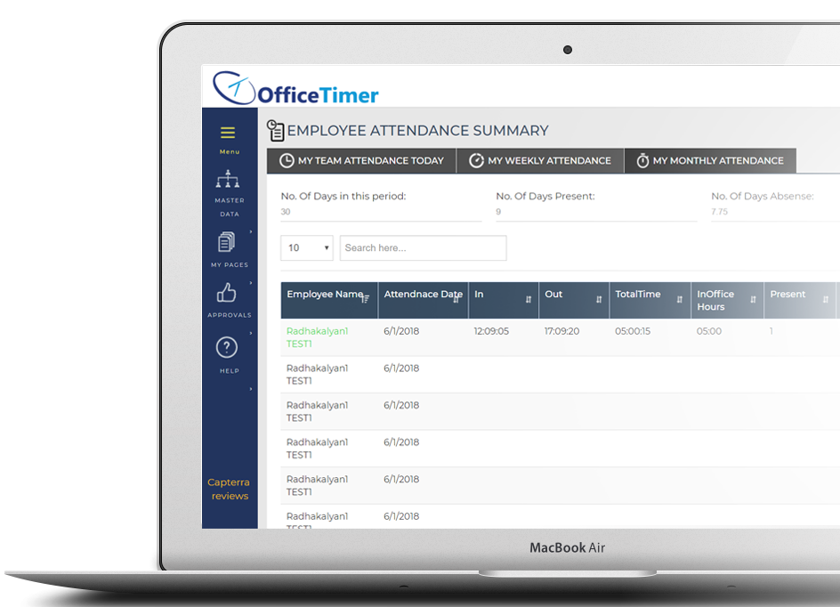 Employee attendance management software