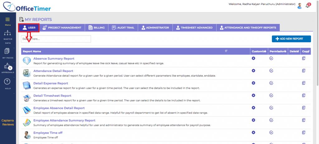 OfficeTimer User Reports